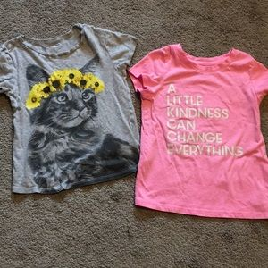 4T T-shirts, hot pink And sunflower cat